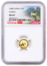 1988 China 1/20 oz Gold Panda ¥5 Coin NGC MS69 (Exclusive Great Wall Label)