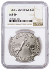 1988-D Olympics Commemorative Silver Dollar NGC MS69 Brown Label