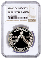 1988-S Olympics Commemorative Silver Dollar Proof NGC PF69 UC