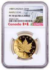 1989 Canada 1 oz Gold Maple Leaf Proof $50 NGC PF70 UC Exclusive Canada Label