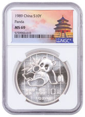 1989 China 1 oz Silver Panda ¥10 Coin NGC MS69 Exclusive Temple Label