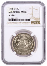 1991-D Mount Rushmore Golden Anniversary Commemorative Half Dollar NGC MS70