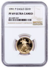 1991-P 1/4 oz Gold American Eagle Proof $10 NGC PF69 UC
