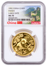 1992 China 1 oz Gold Panda - Large Date ¥100 Coin NGC MS70 Exclusive Great Wall Label
