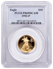 1993-P 1/4 oz Gold American Eagle Proof $10 PCGS PR69 DCAM
