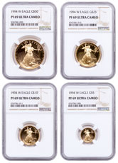 1994 4 Coin Gold Eagle Set NGC PF69 UC Proof 69 Ultra Cameo