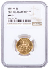 1995-W Civil War Battlefields $5 Gold Commemorative Coin NGC MS69