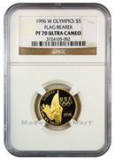 1996-W Olympics Flag Bearer $5 Gold NGC PF70 UC Proof 70 Ultra Cameo