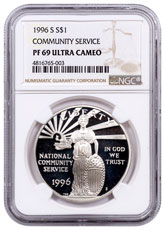 1996-S National Community Service Commemorative Silver Dollar Proof NGC PF69 UC
