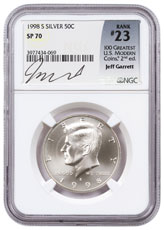 1998-S Kennedy Half Dollar Matte NGC SP70 (Garrett Signed 100 Greatest U.S. Modern Coins Label)
