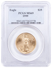 1999 1/2 oz Gold American Eagle $25 PCGS MS69