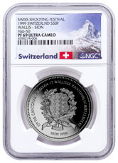 1999 Switzerland Shooting Festival Thaler - Sion Silver Proof Fr.50 Coin NGC PF69 UC Exclusive Switzerland Label