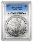 1999 1 Troy Oz Fine Silver Eagle PCGS MS69 Mint State 69