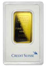 Credit Suisse Logo 1 oz Gold Bar In Assay (Type 2 Plastic Holder )