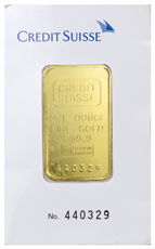 Credit Suisse Logo 1 oz Gold Bar In Assay Type 1 Cardboard Holder