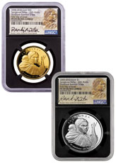 2-Coin Set - (2020) Shoshone Bannock Tribes - Sacajawea Dollar - Alternate Design 1 oz Gold + 1 oz Silver Proof Coins Scarce and Unique Coin Division NGC PF70 UC Randy'L Teton Signed Label