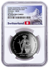2000 Switzerland Shooting Festival Thaler - Biere Silver Proof Fr.50 Coin NGC PF70 UC Exclusive Switzerland Label