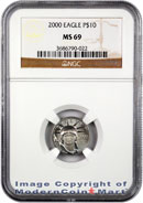 2000 $10 Platinum Eagle NGC MS69 Mint State 69