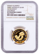 2000-P Australia Sydney Olympics - Achievement Gold Colorized Proof $100 Coin NGC PF70 UC