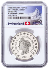 2001 Switzerland Shooting Festival Thaler - Uri Silver Proof Fr.50 Coin NGC PF69 UC Exclusive Switzerland Label