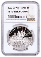 2002-W West Point S$1 Dollar NGC PF70 UC Proof 70 Ultra Cameo