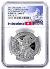 2003 Switzerland Shooting Festival Thaler - Basel Silver Proof Fr.50 NGC PF70 UC Exclusive Switzerland Label