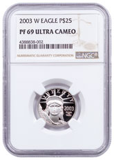 2003-W 1/4 oz Platinum American Eagle Proof $25 NGC PF69 UC