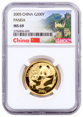 2005 China 1/2 oz. Gold Panda 200Y NGC MS69 Mint State 69