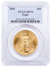 2005 1 oz Gold American Eagle $50 PCGS MS70