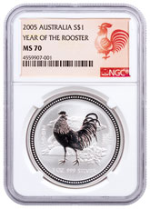 2005 Australia Year of the Rooster 1 oz Silver Lunar (Series 1) $1 Coin NGC MS70 Rooster Label