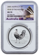 2005 Australia Year of the Rooster 1 oz Silver Lunar (Series 1) $1 Coin NGC MS70