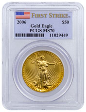 2006 1 oz Gold American Eagle $50 PCGS MS70 FS (Flag Label)