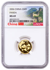 2006 China 1/10 oz Gold Panda ¥50 Coin NGC MS69 Exclusive Great Wall Label