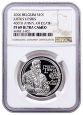 2006 Belgium Euro Commemorative - Justus Lipsius 400th Anniversary of Death Silver Proof €10 Coin NGC PF69 UC