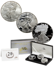 2006 Silver Eagle 20th Anniversary Set of 3 Coins (OGP)