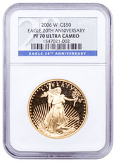 2006-W 1 oz Gold American Eagle Proof $50 NGC PF70 UC (20th Anniversary Label)