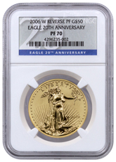 2006-W 1 oz Reverse Proof Gold Eagle $50 (20th Anniversary) NGC PF70