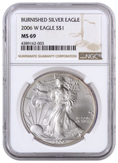 2006-W Burnished Silver Eagle NGC MS69