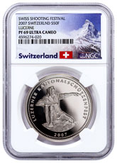 2007 Switzerland Shooting Festival Thaler - Lucerne Silver Proof Fr.50 NGC PF69 UC Exclusive Switzerland Label