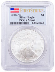 2007-W Burnished Silver Eagle PCGS MS69 FS