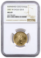 2007-W 1/4 oz Burnished Gold American Eagle $10 NGC MS69