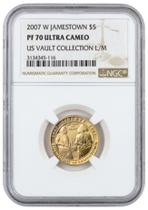 2007-W Jamestown 400th Anniversary $5 Gold Commemorative Proof NGC PF70 UC