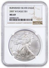 2007-W Burnished Silver Eagle NGC MS69
