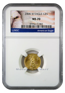 2008-W Burnished $5 Gold Eagle NGC MS70 Mint State 70 ***EXCLUSIVE AMERICAN EAGLE LABEL***
