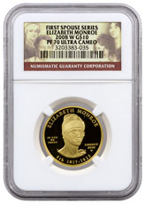 2008-W Elizabeth Monroe First Spouse Gold Proof $10 NGC PF70 UC