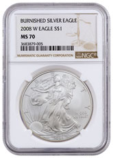 2008-W Burnished Silver Eagle NGC MS70