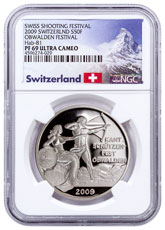 2009 Switzerland Shooting Festival Thaler - Obwalden Silver Proof Fr.50 NGC PF69 UC Exclusive Switzerland Label