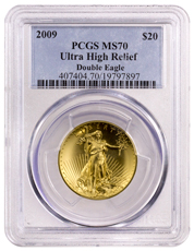 2009 Ultra High Relief Gold Saint-Gaudens Double Eagle $20 PCGS MS70 (Blue Label)