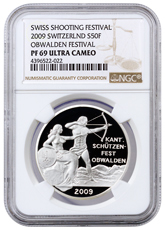 2009 Switzerland Shooting Festival Thaler - Obwalden Silver Proof Fr.50 NGC PF69 UC