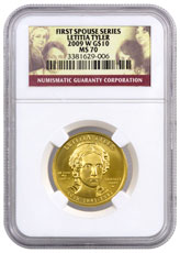 2009-W Letitia Tyler First Spouse Gold $10 Coin NGC MS70